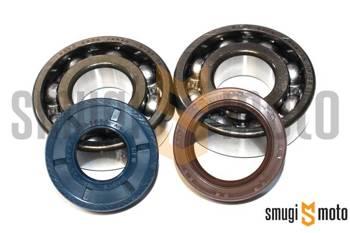 Łożyska wału i uszczelniacze SMG Racing Metal, Minarelli AM - do wału Top Racing High-Tech (20mm / 20mm, Koyo + Corteco)