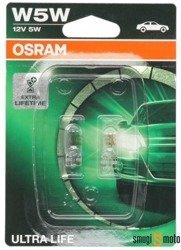 Żarówka Osram W5W (T10) 12V 5W W2,1X9,5D Ultra Life, do 4 razy dłuższa żywotność (Blister 2szt.)