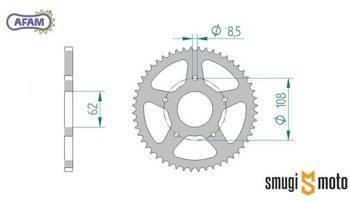 Zębatka tylna AFAM [420] 52z, Rieju SMX / Peugeot XR7 50 (62mm / 108mm)