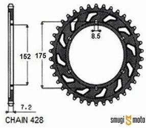 Zębatka tylna Sunstar [428], Yamaha WR '09-15, DT / DTR / TDR 125 '88-15 (różne rozmiary)