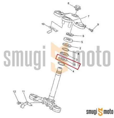 Bieżnia łożyska główki ramy, dolna, Yamaha TZR 50 '03-12