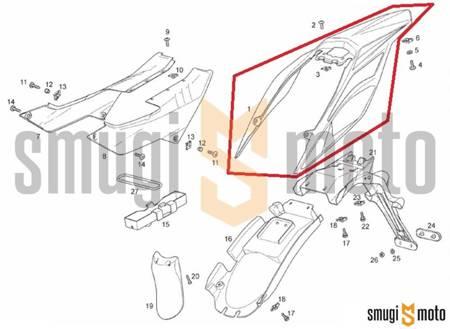 Błotnik tylny, biały, niemalowany, Aprilia RX / SX 125 '18- / Derbi Senda 125 R-SM DRD Racing