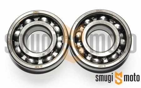 Łożyska wału SKF 6204 C4 Metal, Minarelli / Derbi / Peugeot leżący (komplet 2 szt.)