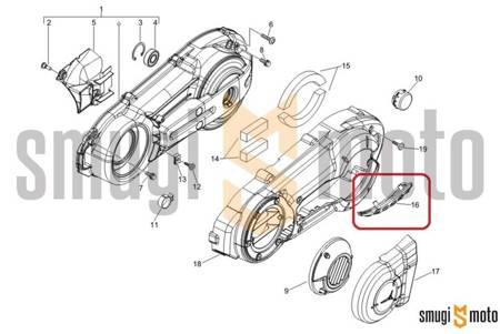 Ślizg / osłona pokrywy wariatora, dolna, Piaggio X8 400 / X Evo 400 / MP3 400-500, Gilera Nexus 500 / Fuoco 500