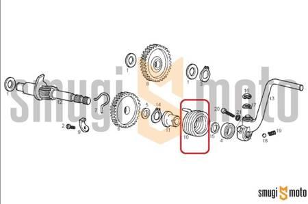 Sprężyna wałka startera nożnego, Aprilia / Derbi / Gilera (EBE / EBS / D50B)