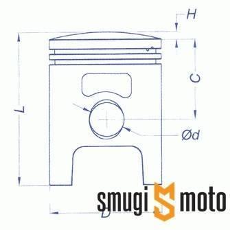 Tłok kompletny Vertex, Polini Sport 70cc, Piaggio / Peugeot / Honda 12mm (różne rozmiary)