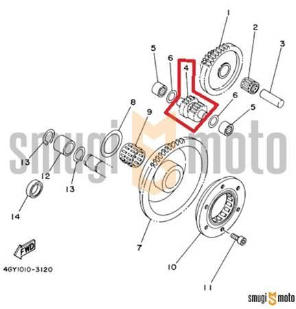 Zębatka pośrednia rozrusznika (podwójna), Yamaha TTR 250
